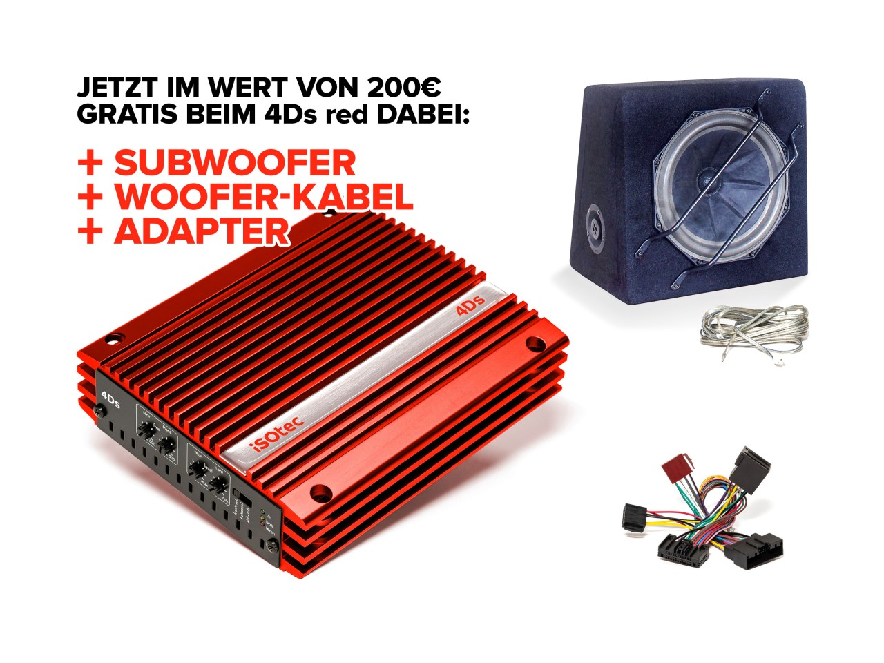 4Ds Digital-Verstärker-Set red Ford Focus | inkl. EXTRA Subwoofer SLW265 | Radio-Adapter