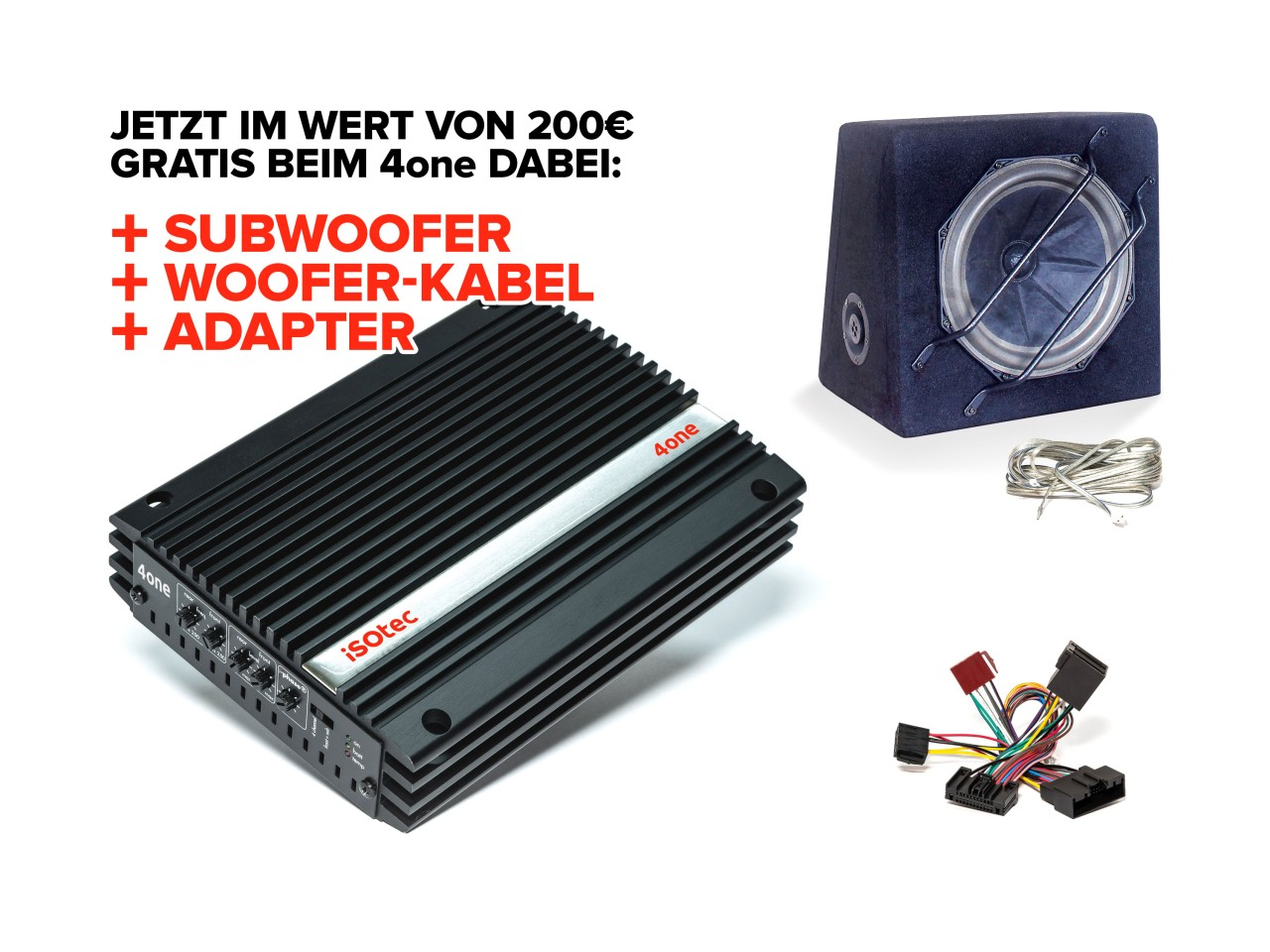 4one Verstärker-Set VW Tiguan | inkl. EXTRA Subwoofer SLW265 | Radio-Adapter | plug & play