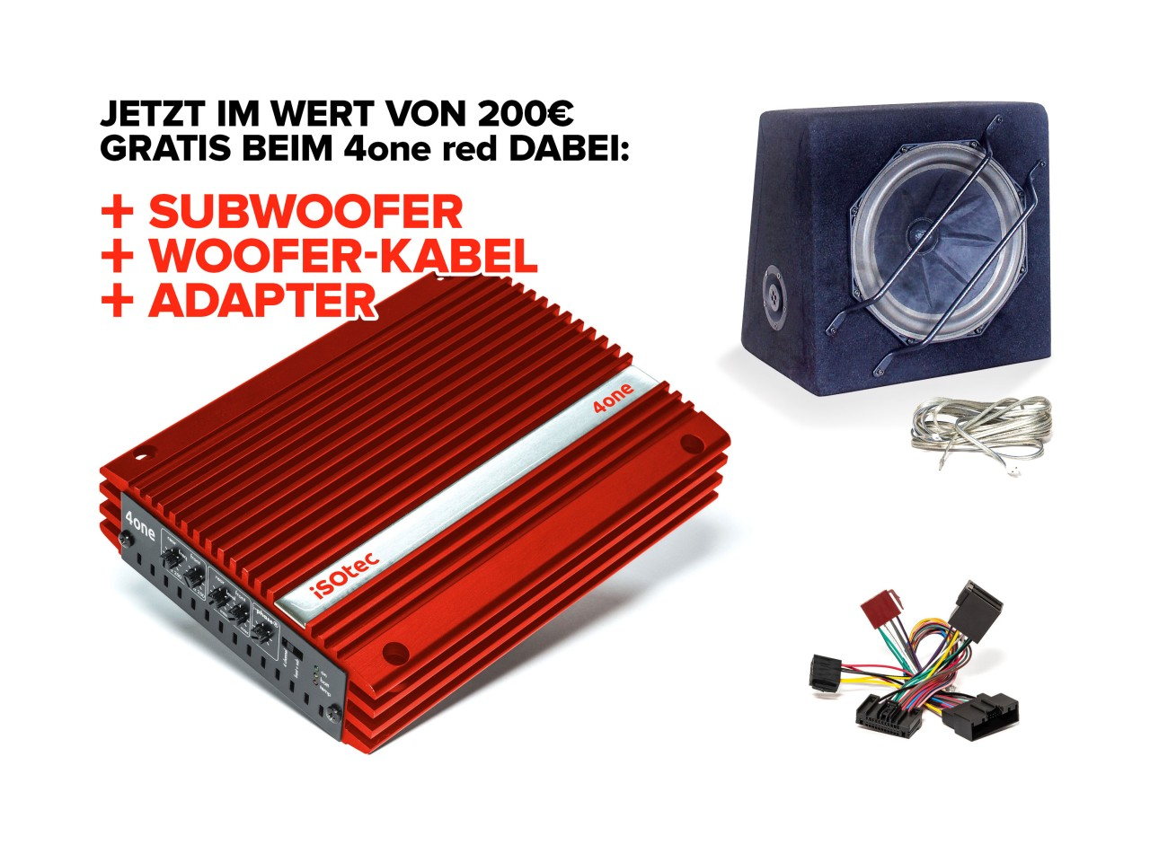 4one Verstärker-Set red Mercedes C-Klasse | inkl. EXTRA Subwoofer SLW265 | Radio-Adapter |