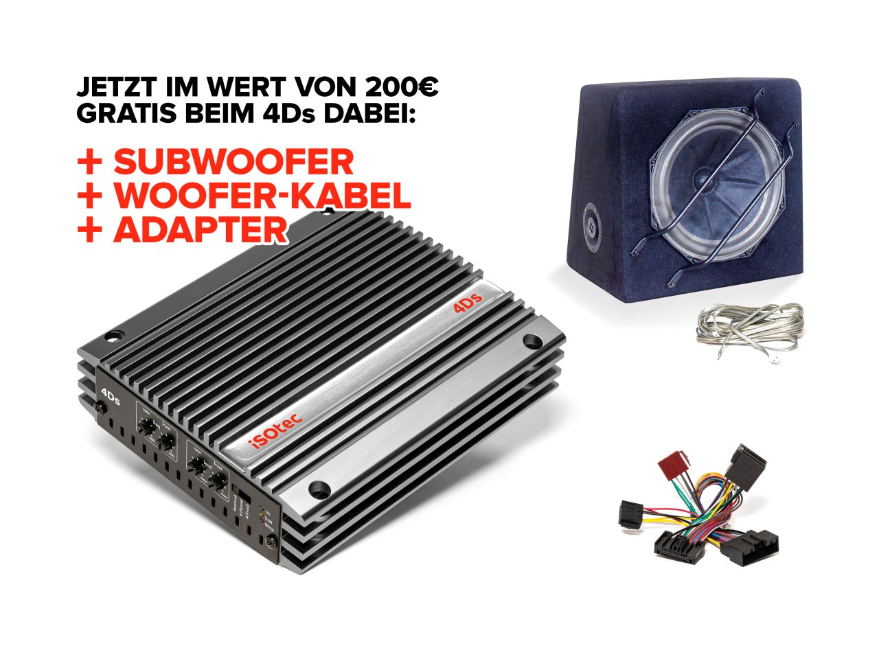 4Ds Digital-Verstärker-Set Opel Adam | inkl. EXTRA Subwoofer SLW265 | Radio-Adapter